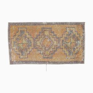 2x3 Türkise Vintage Oushak Fußmatte in Gelb & Orange oder Kleiner Teppich