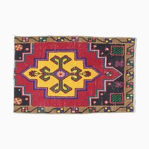 1x2 türkischer Vintage Oushak Handwollteppich oder Fußmatte
