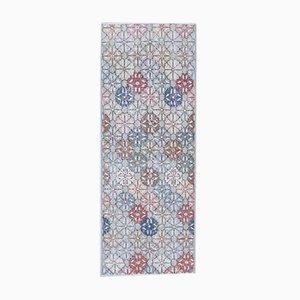 Tappeto Oushak vintage fatto a mano a mano in lana con motivo floreale, 2x6 m