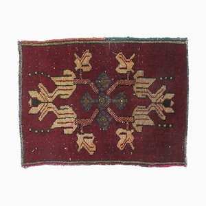 2x3 Vintage Turkish Oushak Crimson Doormat or Carpet