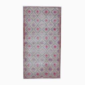 3x6 Handgemachter türkischer Vintage Oushak Wool Farm Teppich
