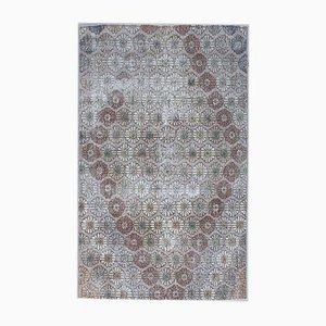 Türkischer Vintage Oushak Vintage Wollfarm Teppich mit 4 x 6 Feldern