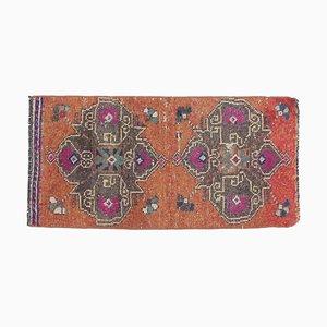 1x3 Türkischer Vintage Oushak Fußmatte aus handgewebter Wolle