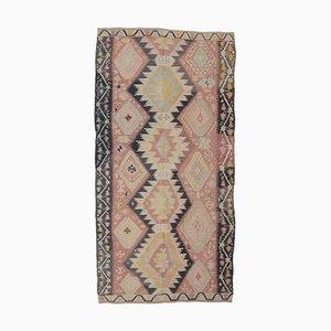 Handgewebter türkischer türkiser Vintage 5x11 Oushak Kelim Wollteppich in Rosa