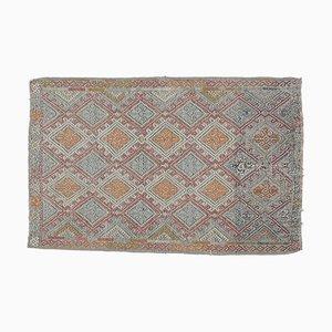 2x2 Türkischer Vintage Kilim Oushak Handgewebter Flachgewebe Teppich aus Baumwolle Mini