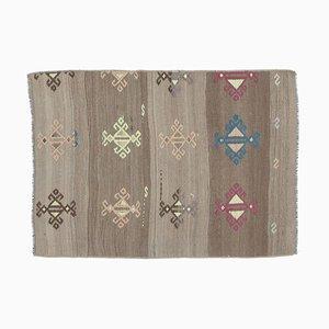 2x3 Vintage Turkish Kilim Oushak Handmade Wool Flatweave Rug Mini