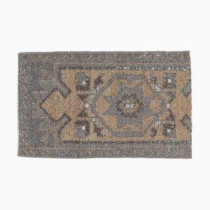 2x3 Antique Turkish Oushak Rug Doormat in Handmade Wool