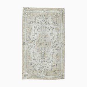 4x7 Vintage Turkish Neutral Beige Oriental Area Carpet