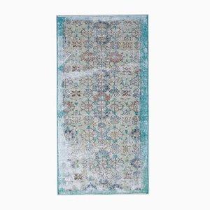 3x6 Vintage Turkish Turquoise Bordered and Beige Carpet