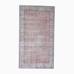 Tappeto 4x7 vintage con bordi bordati di foglie rosse, Turchia