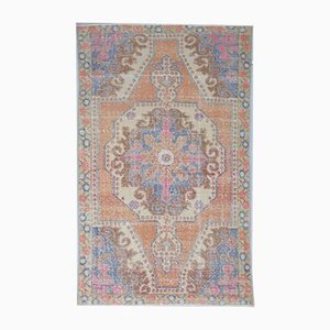 4x7 Vintage Middle East Oushak Handmade Orange Wool Rug