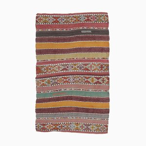 Handgewebter 3x6 türkischer Vintage Kilim Oushak Woll Navajo Teppich