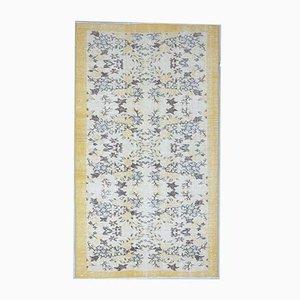 Tappeto Oushak vintage fatto a mano in lana dorata, 4x6