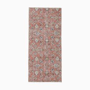 Tappeto Oushak vintage in lana fatta a mano 2x5 color rosso, Turchia