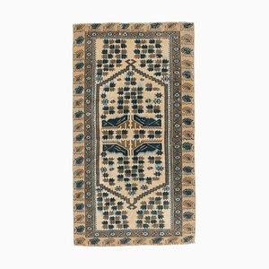 3x6 Handgemachter türkischer Vintage Oushak Flur Läufer Teppich aus Wolle
