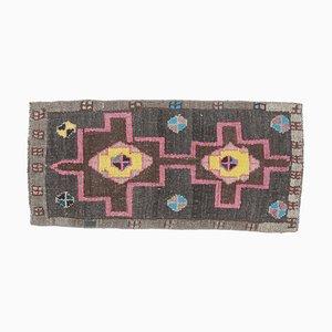 2x3 Türkischer Vintage Oushak Teppich oder Fußmatte aus handgewebter Wolle