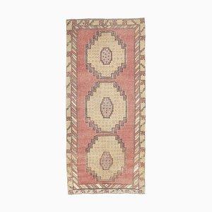 3x7 Handgemachter türkischer Vintage Oushak Teppich aus pastellfarbener Wolle