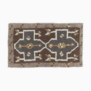 1x2 Türkischer Vintage Kilim Oushak Handgewebter Flachgewebe Teppich aus Wolle Mini