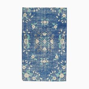 Tappeto Oushak vintage fatto a mano a motivi floreali blu, Francia