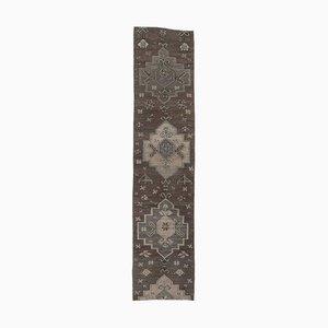 Türkischer Vintage Oushak 2x11 Handgemacht Läufer Teppich aus Dunkler Wolle