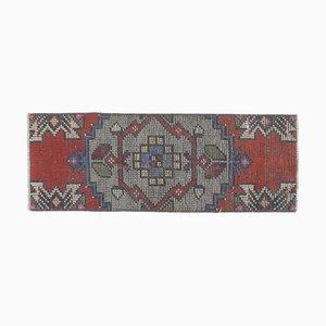Handgemachter 1x3 Handgeknüpfter Handgeknüpfter Türkischer Vintage Teppich aus Wolle