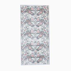 3x6 Handgemachter türkischer Vintage Oushak Blumen Teppich mit neutralen Farben