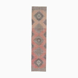 3x12 Vintage Turkish Oushak Handmade Wool Runner Rug in Pink