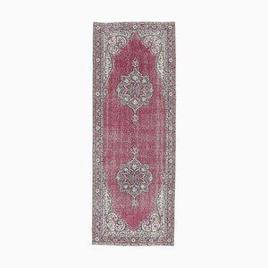 3x8 Türkischer Vintage Oushak Läufer Teppich aus Rubinrot