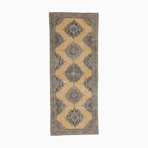 5x12 Vintage Turkish Oushak Handmade Patel Wool Runner Rug