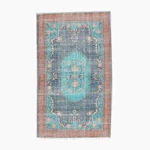 5x8 Vintage Turkish Oushak Handmade Blue-Teal Wool Rug