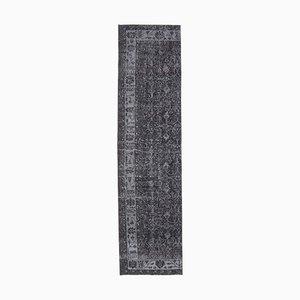 3x10 Vintage Turkish Oushak Handmade Black Solid Wool Runner Rug