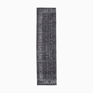 Tappeto Oushak vintage in lana nera fatto a mano 3x10