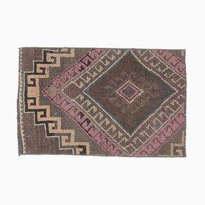 Tappeto Oushak vintage in lana, 2x3 marrone, Turchia