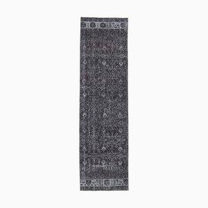 3x10 Vintage Turkish Oushak Handmade Black Floral Wool Runner Rug