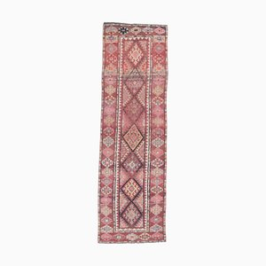 3x9 Vintage Turkish Oushak Hand-Knotted Wool Runner Rug