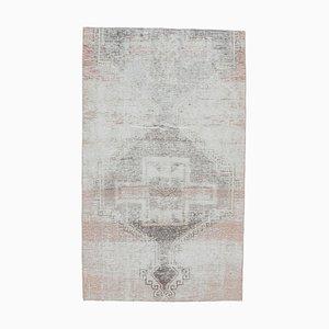 Tappeto Oushak vintage in lana rossa fatto a mano 3x5, Turchia