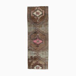 3x7 Vintage Turkish Oushak Handmade Wool Runner Rug in Brown