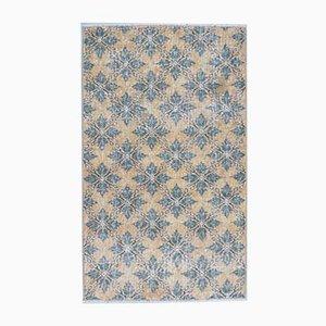 3x4 Türkischer Vintage Teppich Oushak Handgeknüpfter Wollteppich in Gelb