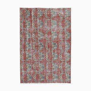 3x5 Türkischer Vintage Oushak Handgemachter Roter Teppich