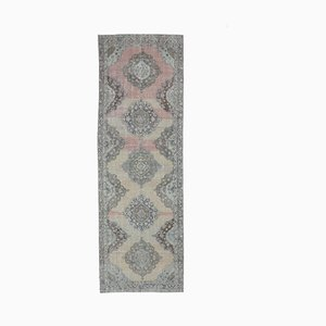 4x13 Antique Turkish Runner Oushak Handmade Wool Runner Rug
