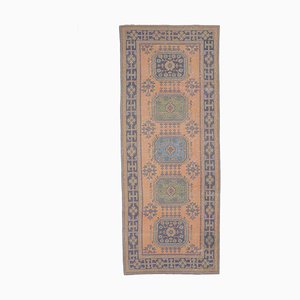 4x11 Vintage Turkish Oushak Handmade Wool Runner Rug in Orange