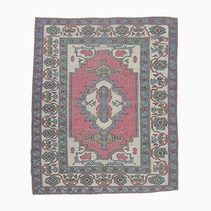 Türkiser orientalischer 7x8 Orihak Teppich in Rosa