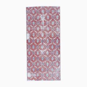 3x6 Türkischer Vintage Oushak Ikat Teppich aus Roter Wolle