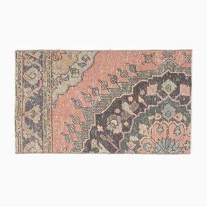 2x3 Türkischer Vintage Oushak Fußmatte oder Teppich aus handgemachter Wolle