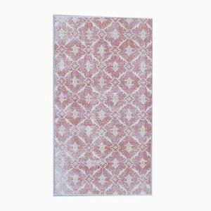 3x6 türkischer Vintage Oushak Teppich aus roter & beigefarbener Wolle Ikat