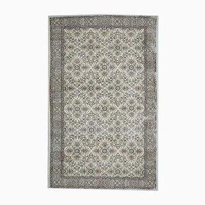 6x10 Vintage Turkish Beige and Copper Floral Bordered Area Rug