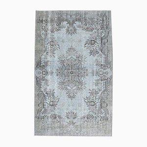 Handgemachter Türkischer Vintage 5x8 Oushak Hellblaue Wolldecke Teppich