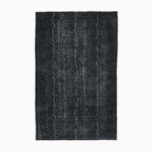 6x9 Vintage Turkish Oushak Black Overdyed Solid Area Rug