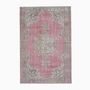 Handgeknüpfter 6x9 Vintage Naher Osten Oushak Heirloom Wollteppich in Rosa