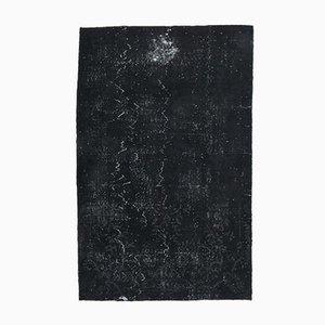 6x9 Vintage Turkish Oushak Solid Black Overdyed Area Rug